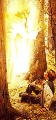 I love this First Vision by Walter Rane. I believe in this First Vision.that Joseph Smith did in fact see God the Father and His Son Jesus Christ. Lds Pictures, Church Pictures, Jesus Pictures, Joseph Smith, Religious Paintings, Religious Art, Spiritual Paintings, Arte Lds, Andre Luis