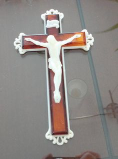60s White/Brown Lucite Catholic Crucifix Made Italy by LoukiesWorld on Etsy