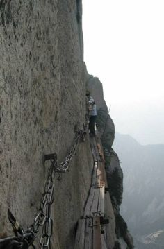 part of the mountain hiking trail on Mount Huashan in China
