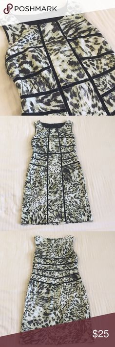 Ann Taylor animal print dress Olive, Black and white, knee length dress. Perfect for work or play, runs a little big for size Ann Taylor Dresses