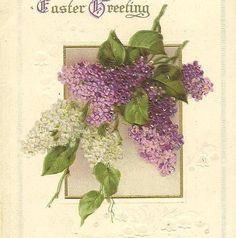 Purple and White Lilacs on Vintage IAPC Easter by TheOldBarnDoor, $4.00