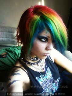 """rainbow hair, dark eye make-up, black snake bites / piercings, tattoos.  Emo girl look for the Anime Emo Punk Tech Movement of 2054 in book series, """"The Biodome Chronicles""""  by Jesikah Sundin (see board for """"Legacy"""", """"Elements"""" and """"Gamemaster"""")"""
