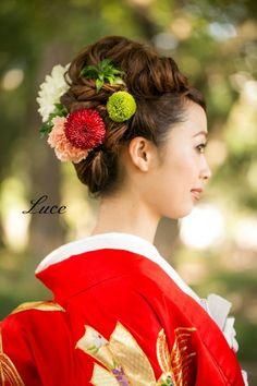 和装ヘアスタイル~人気の赤色打掛~ | ウェディングヘアメイクルーチェのハッピースタイル♪