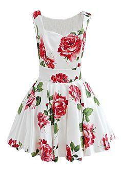 White Sleeveless Bandeau Floral Tank Dress