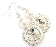 Earrings Pearl Swarovski White Crystal Bridal by vantageJewellery, £25.00
