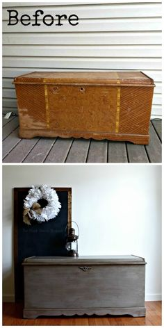 Cedar Chest Painted in Coco Before and after photo of cedar chest.Before and after photo of cedar chest. Refinish Hope Chest, Cedar Chest Redo, Painted Cedar Chest, Wood Chest, Hope Chest Redo, Bedroom Furniture Makeover, Refurbished Furniture, Repurposed Furniture, Painted Furniture