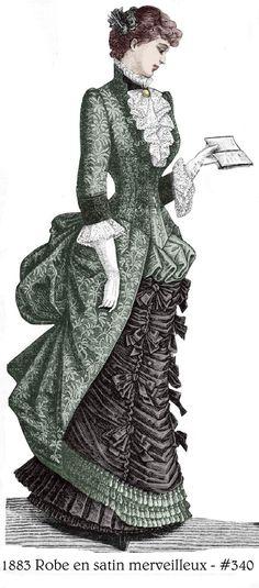 1883 Victorian Dress Pattern - Robe en satin mervilleux - sized for you from antique originals - wit Victorian Era Fashion, 1880s Fashion, Victorian Costume, Vintage Fashion, Edwardian Era, French Fashion, 19th Century Fashion, Victorian Design, Dress Drawing