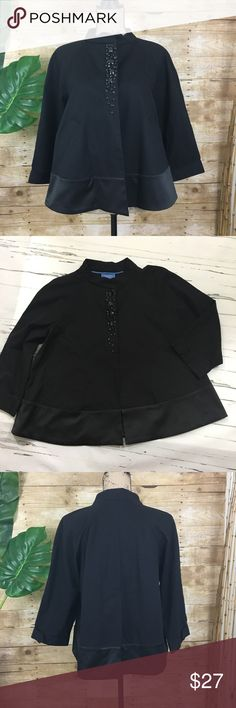 "Simply Vera Swing Jacket with Jewel Embellishment Simply Vera Swing Jacket with Jewel Embellishment and black satin like trim.  Mandarin collar, covered snap front closure, cuffed 3/4 length sleeves, two front pockets.  Excellent condition.   🌸 Size - Medium 🌸 Chest - 20""            measured armpit to armpit (flat lay) 🌸 Length - 23.5""  --  Shoulder to hem 🌸Material - Body: 98% Cotton, 2% Cotton                       Trim: 50% Cotton, 48% Polyester,                                 2%…"