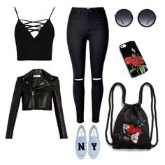 """🌹🖤"" by natalia-laskowska on Polyvore featuring moda, Boohoo, Joshua's, Alice + Olivia, Monki i Yves Saint Laurent"