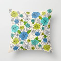 Flower drawing 1 Throw Pillow by Crystal Walen - $20.00