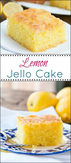 This Lemon Jello Cake is perfect for anytime of the year. The fresh tastes of summer or to brighten the winter holiday meals. ohsweetbasil.com