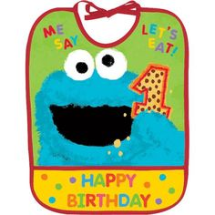 1st Birthday Sesame Street Bib 10in x 13in - Party City