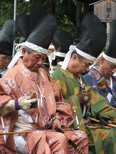 Japanese archers in traditional costumes