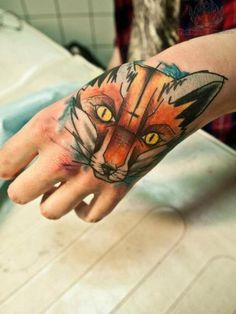 Fox Head Tattoo On Hand