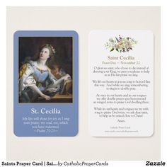 Saints Prayer Card | Saint Cecilia 1 #PrayerCards #HolyCards #MassCards #VintagePrayerCards Female Catholic Saints, Prayer Cards, Business Card Size, Smudging, Paper Texture, Prayers, Things To Come, Writing, Feelings