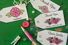 Free Printable Thank You Tags by Love That Party. www.lovethatparty.com.au