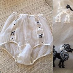 Vintage panties underwear Ivory nylon Embroidered poodles Sheer High waist Deadstock Size 5 Waist to Hips to Matching Bra And Panty, Bra And Panty Sets, Granny Panties, Vintage Dresses 50s, Lingerie Drawer, Vintage Lingerie, Lingerie Collection, Lace Bralette, Gym Shorts Womens