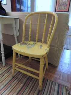 Yellow painted vintage wooden chair by chezkvintage on Etsy, $30.00