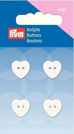 Prym Knopf 2-Loch Herz weiß 13mm