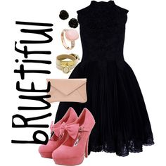 Little Black Dress + Pretty in Pink, created by rue-dis11 on Polyvore