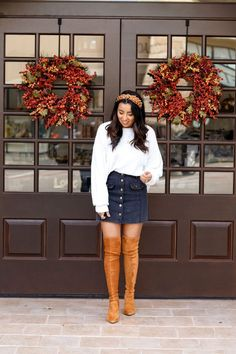 Fall outfit ideas. Winter outfit ideas. Thanksgiving outfit ideas. OTK boots. Over the knee boot ideas. Pearl headband. Pearl headband ideas.