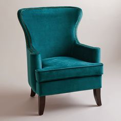 World Market Pacific Blue Elliott Wingback Chair. Also comes in Nutmeg (burnt orange). Pacific Blue chair is more green/dusty blue/charcoal in person. Living Room Accents, Living Room Chairs, Living Room Furniture, Home Furniture, Dining Chairs, Modern Furniture, Furniture Chairs, Paint Furniture, Quality Furniture