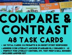 48 COMPARE AND CONTRAST TASK CARDS:  - 24 Short Story Cards with Questions. - 24: Comparative Writing Prompts (using prior knowledge). - Student Answer Sheet  - Answer Key  - 2 products for the price of one!  All 48 task cards come in full page and task card (1/4 page) format to suit your printable and Projector needs! Perfect ela task cards to teach compare contrast or comparative wrting for literacy center ideas #compareandcontrasttaskcards