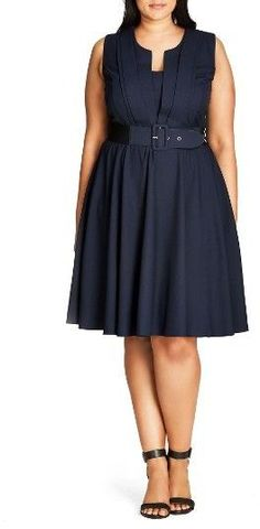 Plus Size Women's City Chic Vintage Veronica Belted Pleat Fit & Flare Dress