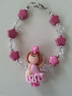 Here is an unique bracelet for a little princess. It's made with a cute ballerina in polymer clay, with glass and metallic beads in fuchsia and pink. Lenght : 6 inches ( I may change the lenght if yo Unique Bracelets, Unique Necklaces, Pink Princess, Little Princess, Gifts For Kids, Gifts For Her, Aluminum Wire Jewelry, Valentine Day Gifts, Valentines