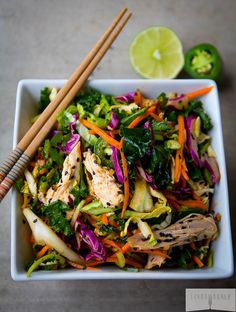 5 Minute Spicy Asian Chicken Salad // fresh, easy, paleo, gluten free via Linda Wagner #takeout #fastfood #healthy