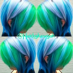 Green-blue dyed hair - Hair And Beauty Top Hairstyles, Pretty Hairstyles, Mermaid Hairstyles, Pelo Multicolor, Multicolored Hair, Colorful Hair, Bright Hair, Coloured Hair, Crazy Hair