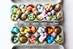 Such an adorable idea for a DIY Easter gift -- instead of an Easter basket, an Easter kit in an egg carton. Cute, clever, thrifty and totally personal -- big ups to The Crafting Chicks (http://thecraftingchicks.com/2011/04/easy-tasty-easter-gift.html)