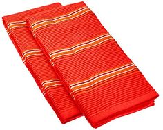 IMUSA Yarn Dye Stripe Kitchen Towels 100 Absorbent Thick Cotton  2Pack Red *** Find out more about the great product at the image link.
