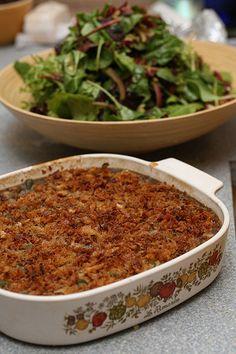 Green bean casserole -- one of my all time favorite dishes! This one is a bit fancier than what I'm used to, but it sounds delicious.
