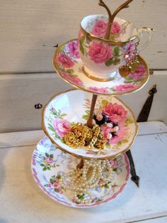 tiered cake stand, re-purposed pink and gold china cake plate, jewelry display