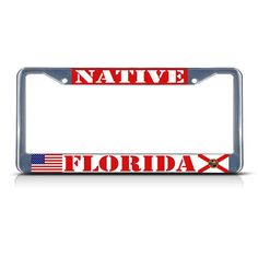 Arizona State Flag License Plate Frame Tag Holder Chrome Metal Base NICE!!