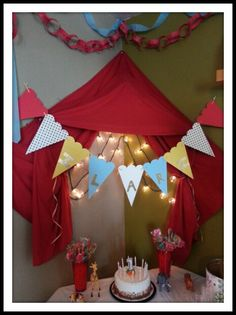 Vintage Circus 1st birthday - tent, banner, cake table
