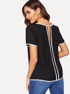 Shop Contrast Trim Cut out Back Top online. SHEIN offers Contrast Trim Cut out Back Top & more to fit your fashionable needs. Fashion News, Fashion Outfits, Girl Fashion, Summer Shirts, Summer Blouses, V Cuts, T Shirts For Women, Clothes For Women, Mannequin