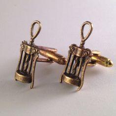 Men's Pair of Wino Brass / Gold Cork Screw Wine by Lynx2Cuffs, $19.99