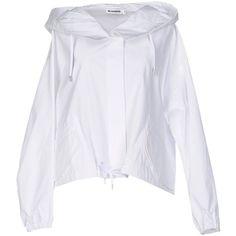 Jil Sander Jacket ($405) ❤ liked on Polyvore featuring outerwear, jackets, white, multi pocket jacket, single breasted jacket, 3/4 sleeve jacket, jil sander and jil sander jacket