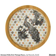 Autumn Polka Dots Vintage Peacock Cheese Board