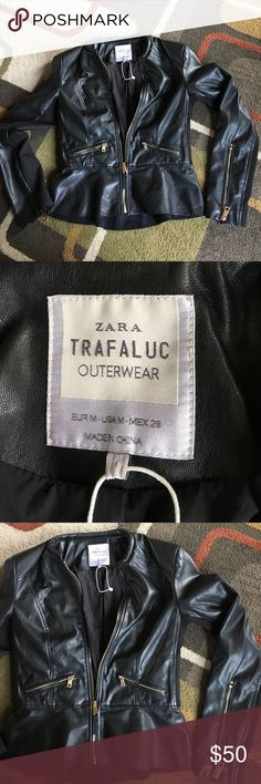 ZARA  Trafaluc  jacket❤ Man made material❤ jacket is black with gold tone hardware ❤side panels in sleeves and jacket that allow for comfortable fit ❤peplum style bottom❤ Zara Jackets & Coats
