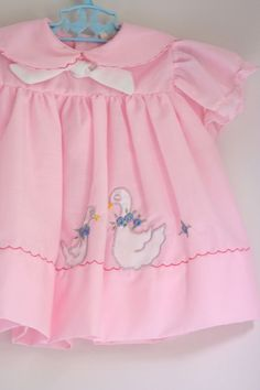 Vintage baby dress with ducks, 1960's - 1970's.
