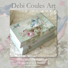 For all my painting friends! My new DVD and Packet are now available at http://www.debicoules.com/vintage-bluebird-and-roses-box-instruction-dvd-printed-design-packet/