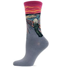"""We now have these in a cranberry background! Crew length socks featuring """"The Scream"""" by Edvard Munch. Available in orange or cranberry. Fits a women's shoe size 5-10."""