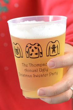 Whether you're breaking out the ugly sweaters for Christmas in July or your annual winter holiday party, ugly sweater Christmas party cups personalized with a family or company name and date make a useful souvenir everyone can take home to remember the fun they had and the laughter shared. Guests will love their custom cups when used for serving soda, punch or alcohol. These cups can be ordered at https://www.tippytoad.com/16-ounce-frosted-plastic-christmas-party-cups.asp