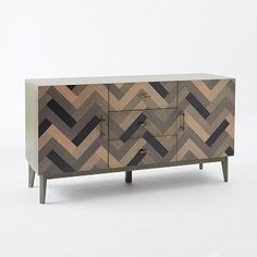 Parquetry Media Console #westelm - I like the idea of bringing texture & design into the room thru this console.