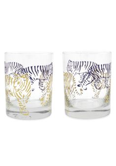 Tiger, Tiger Purple and Gold  Double Old Fashioned Glasses from the Mignon Faget HOME Collection featuring a Louisiana design. Glass printed with 22K Gold and Purple. Set of four.