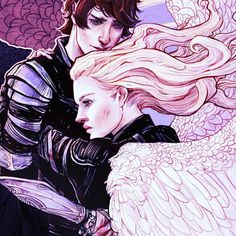 Detail from upcoming poster for Bookcon by Erin Kelso. Emma and Julian in QoAaD. Wait till you see the whole thing!!!!!