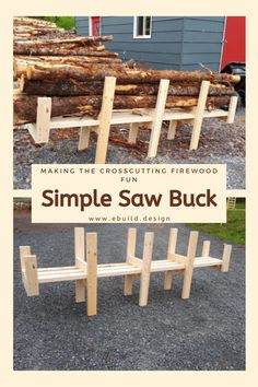 This is used for crosscutting firewood to 24 in long. Made from common Standard 2 x 4 lumber.  This will make your firewood cutting easy on your back and will keep your firewood to the same length.  You will appreciate the Easy to follow instructions and the help this firewood cutting jig will provide on your yard. #DIY #Woodworking #WoodProject #eBuildDesign